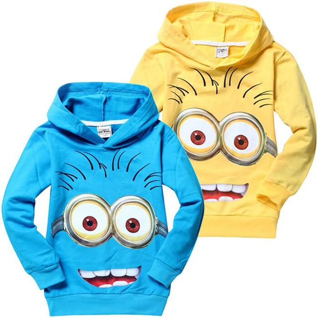 Crianças das camisolas camisas Despicable Me Minion meninos camiseta meninas Nova t-shirt crianças Hoodies outono primavera Tops e camisetas New 2015