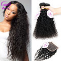"""7a Kinky Curly Bundles With Closure Mink Brazilian Curly Hair With Closure Rosa Virgin Brazillian Curly Hair With Closure 8""""-30"""""""