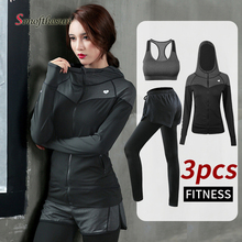 3pcs Women Sports Sets Hooded Jackets Sport Suit Yoga GYM Running Fitness Trainning Sportswear Coat Sports Bras Long Pants women autum winter sports sweatshirts zipper running jackets fitness tracksuits yoga training gym coat with long sleeve