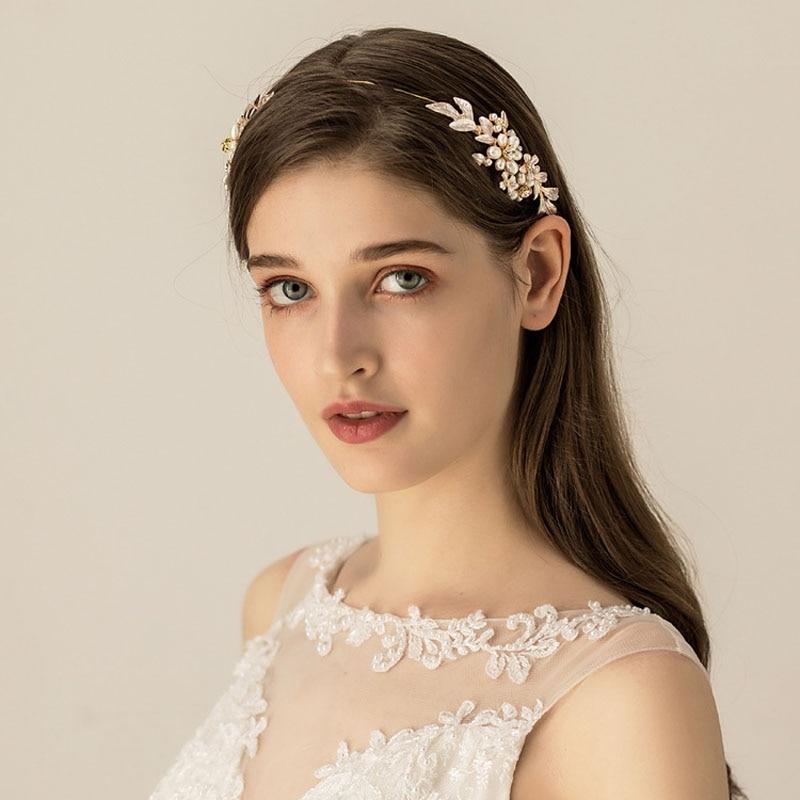 SLBRIDAL Golden Alloy Handmade Wired Rhinestone Crystal Freshwater Pearls Wedding Headband Bridal Hair Accessories Women Jewelry