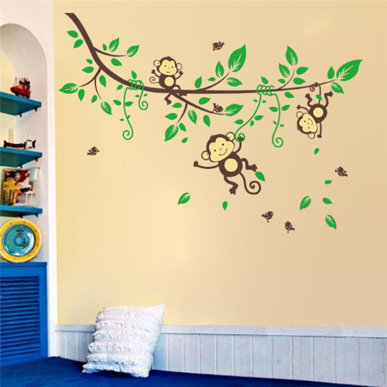 venta caliente original monkey tree wall artes zooyoo cartoon pegatinas de pared para nios sala de animales tatuajes de pared decoracin casera diy en
