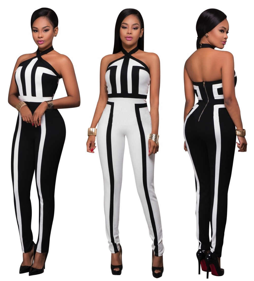 Drop shipping! New popular rompers women jumpsuit patchwork black white bodysuit women jumspuit 5254 ...