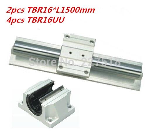 2X TBR16-2000mm 16MM SUPPORTED LINEAR RAIL 4 TBR16UU Rounter Bearing