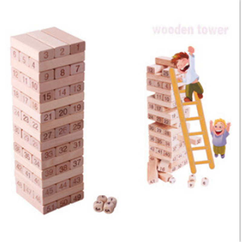 Baby Educational blocks Toys Children Gift 51pcs  Blocks Wooden Tumbling Stacking Tower Jenga Kids Family Party Board Game creative kids toys tumbling monkey game falling toy tumbling monkey parent child interactive learning educational toys for child
