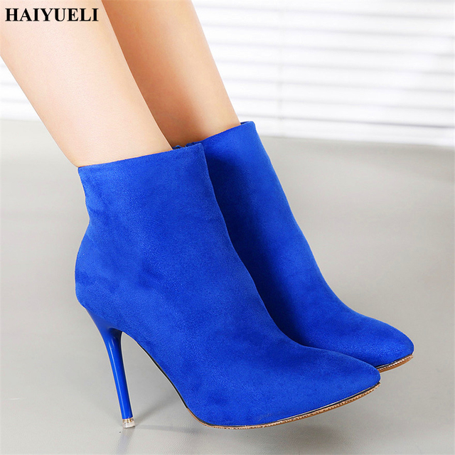 2018 New style European and American Style Fashion Solid Flock Side Zip Toe High Heels Women Boots Sexy Pointed 9.5cm 7 Colors