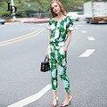 Alta Calidad Runway Suit Set mujeres Fijó Dos 2 Unidades Tapa Ocasional + Verde Flor de la Impresión Floral Pantalones de Traje