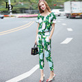 High Quality Runway Suit Set Women's Set Two 2 Piece Casual Top + Green Flower Floral Print Pants Suit