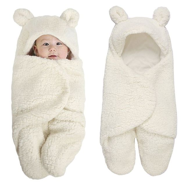 190f71855 Newborn Baby foot cover Swaddle Wrap Winter Cotton Plush Hooded ...