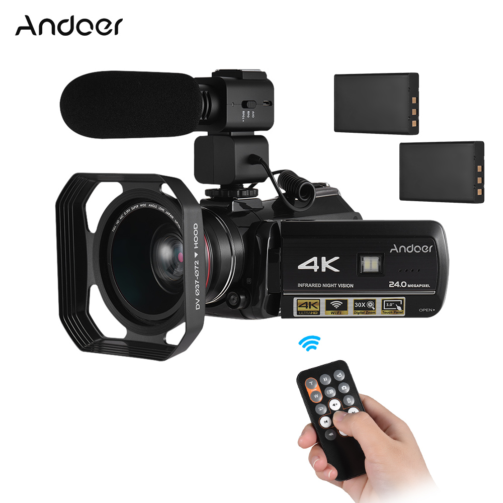 Andoer AC3 Digital Video Camera 4K UHD 24MP Camcorder 3 0 LCD with 2pcs Batteries Extra