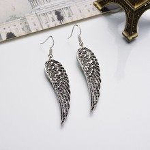 Antique Silver Colors Alloy Pending Wings Earrings Bohemia Vintage Jewelry Drop Earrings For Women Brincos From India