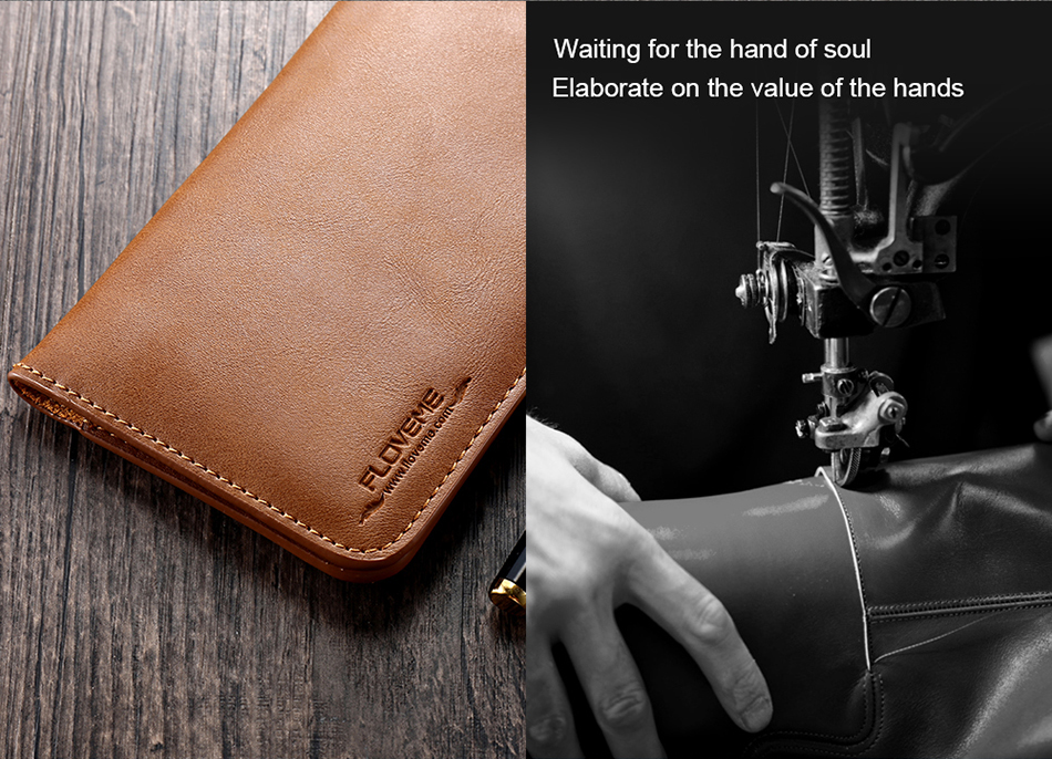 FLOVEME Genuine Leather Wallet Case For iPhone 6 6S 7 Plus Cover Multi-function Vintage Luxury Phone Pouch For Samsung S6 S7 (5)