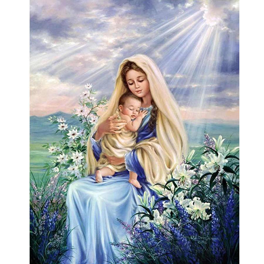 ภาพวาดเพชร Virgin Mary เด็กศาสนาคริสเตียนพระเยซูคริสต์ DIY 5D เพชรเย็บปักถักร้อย Maternal Love เด็กของขวัญทางศาสนา