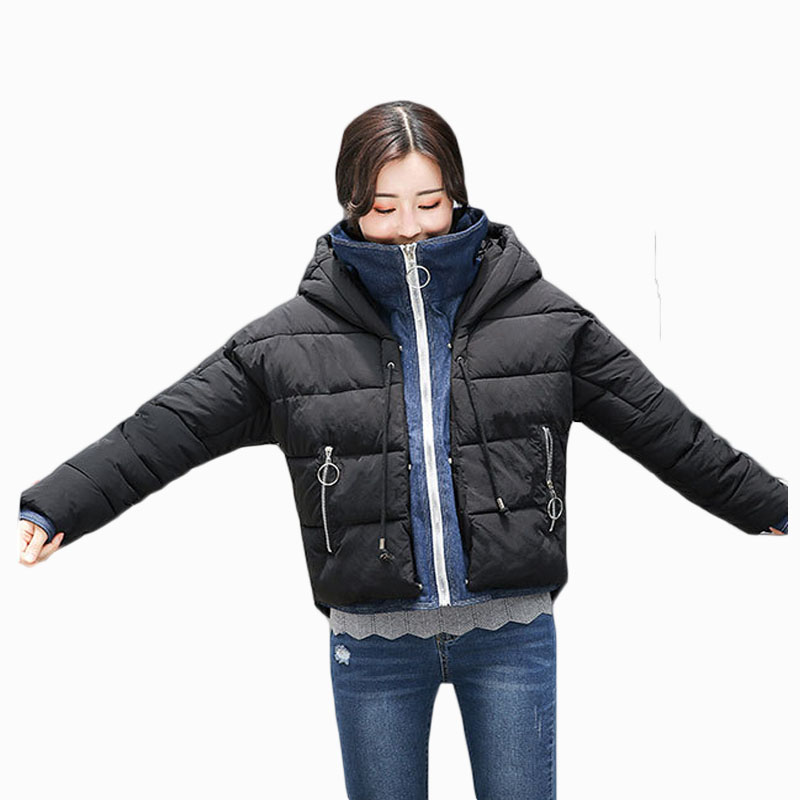 2018 NEW HOT WOMEN WINTER JACKER PLUS SIZE SHORT STAND COLLAR HOODED THICKEN WARM FEMALE PARKAS COTTON WADDED COAT ZL570