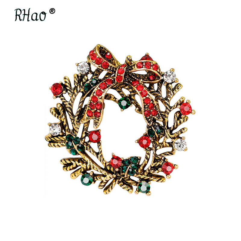 RHao Elegant Women Christmas Garland Rhinestone Bow-knot brooch pins for women men kids Christmas broach gift clother buckles