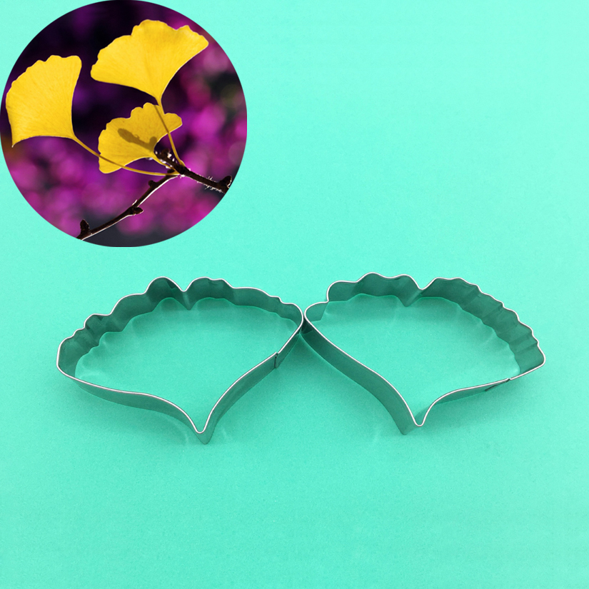 2 pcs/set Ginkgo Biloba Leaf Cutters Set Stainless Steel Candy Cookie Biscuit Fondant CakeDecorating Tools