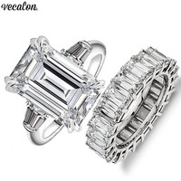 Vecalon Luxury Promise ring sets Princess cut AAAAA Cz Stone 925 Sterling Silver Engagement wedding Band rings for women Men