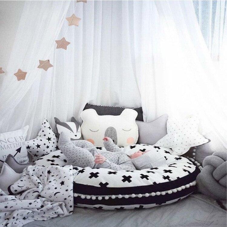 90 cm nordique bébé ramper tapis coton épais jouer Pad enfants jouer tapis rond jeu tapis tente couverture infantile enfants chambre tapis de sol