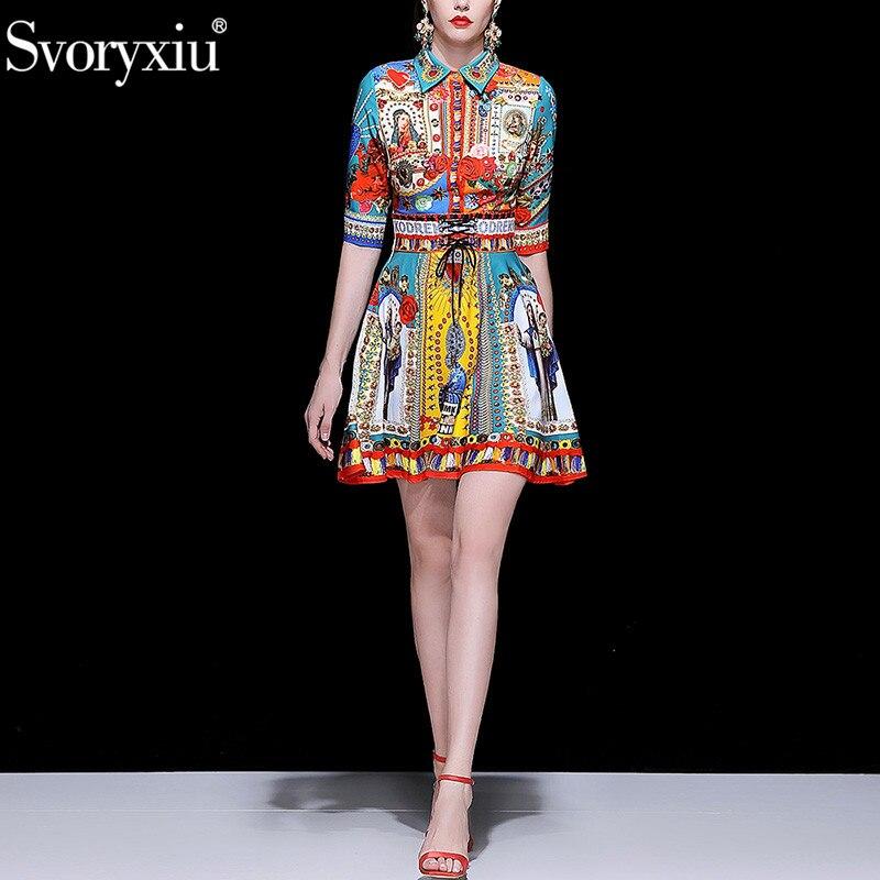 Svoryxiu printemps été piste Mini robe femmes mode 3/4 manches lettre Madonna fleur imprimer mince ceinture robes Vestdios-in Robes from Mode Femme et Accessoires    2