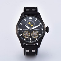 Corgeut 47mm Case Men's Watch Skeleton Automatic Watch PVD Power Reserve Tourbillon Men's Mechanical Watches Men's Watch Gift