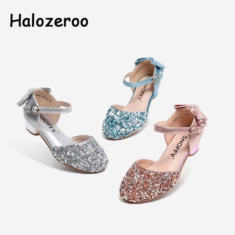f5eaa77b0 Новая весенняя обувь с бантом для маленьких девочек, детская брендовая обувь  с блестками, детская