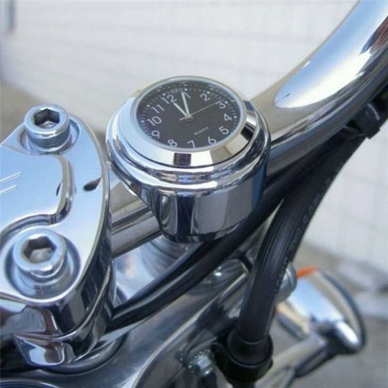 VODOOL 1pc 7/8 Motorcycle Handlebar Black Dial Clock Temp Thermometer for Motorcycle Bicycle Cruiser Waterproof