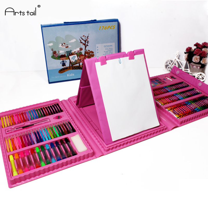 Hardcover Boxed Child puzzle stationery set gift painting brush crayon watercolor pen Safe Non-toxic Kid Drawing Tools Student 24 colors oil pastel crayons child support non toxic art tools pen stationery painting the nursery pupils new wholesale