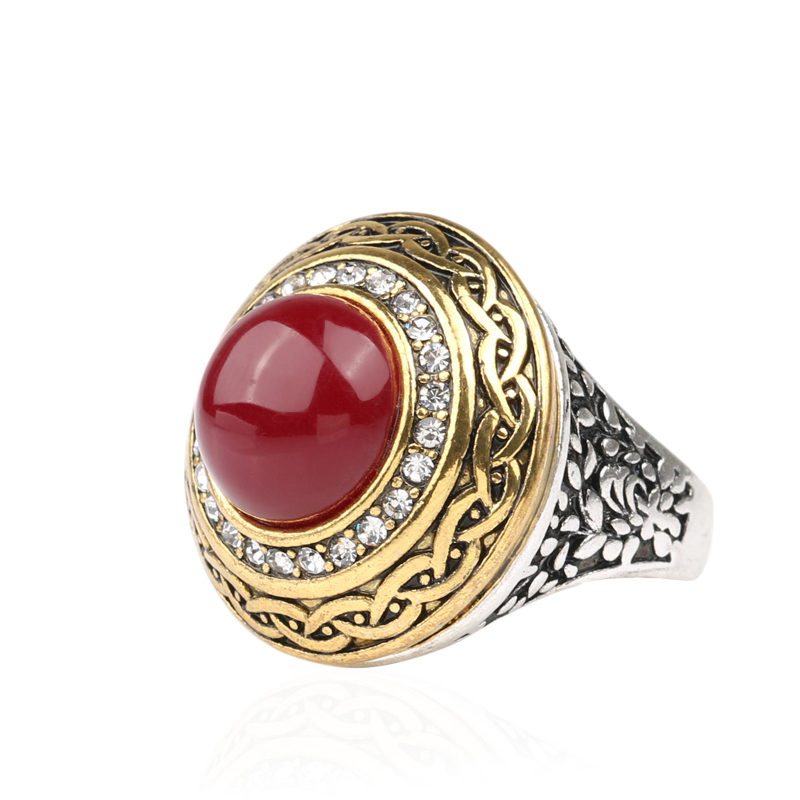 Luxury Vintage Wedding Ring Fashion Round Gold Band Inlay Resin And Crystal Red Indian Jewelry In Rings From Accessories On Aliexpress