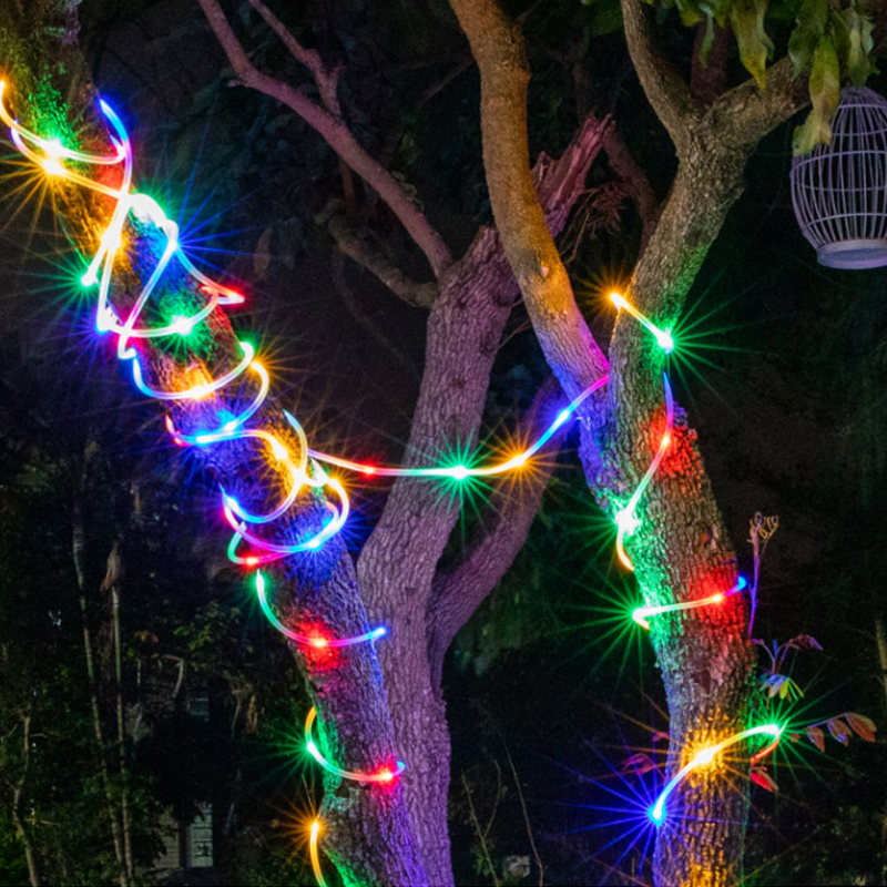 8 Modes Music Sense Led String Tube Fairy Light Garland Outdoor Lighting String USB Battery Light For Xmas Festival Party Decor