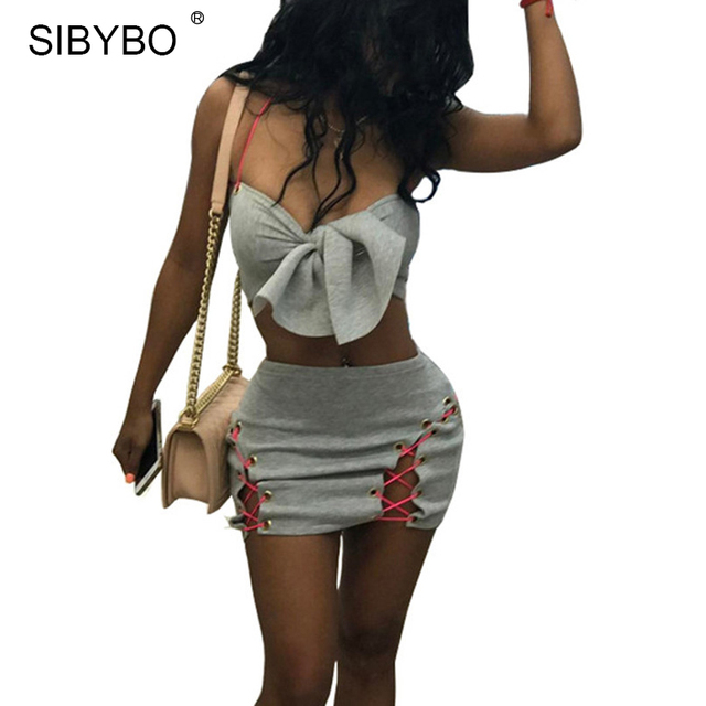 Sibybo Lace Dress Sibybo Lace Up Strapless Sexy Two Piece Dress Woman Bow Halter Sleeveless  Mini Women Bodycon Dress