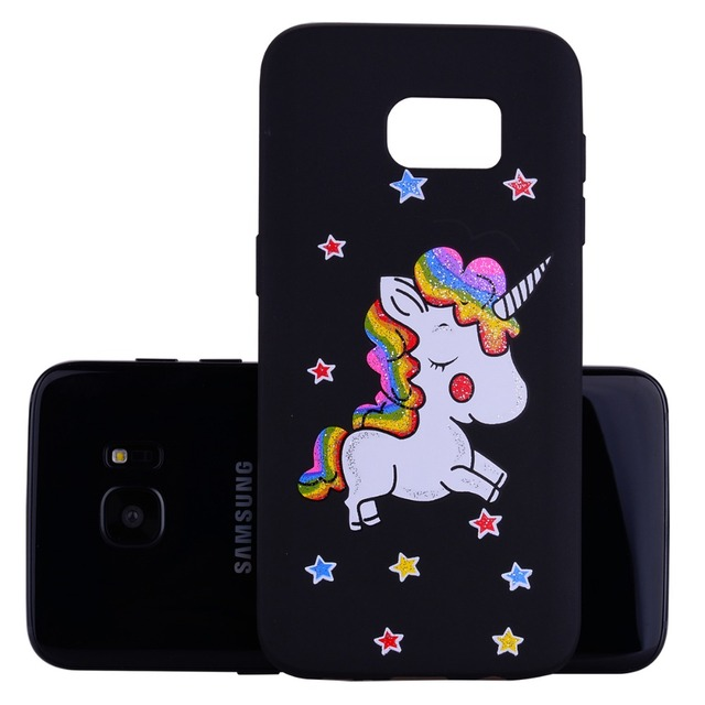 Floral Unicorn Phone Case For Samsung Galaxy S7 EDGE G935 G935F SM-G935F Soft TPU Back Cover Black Pink Case For Sansung S7 Edge