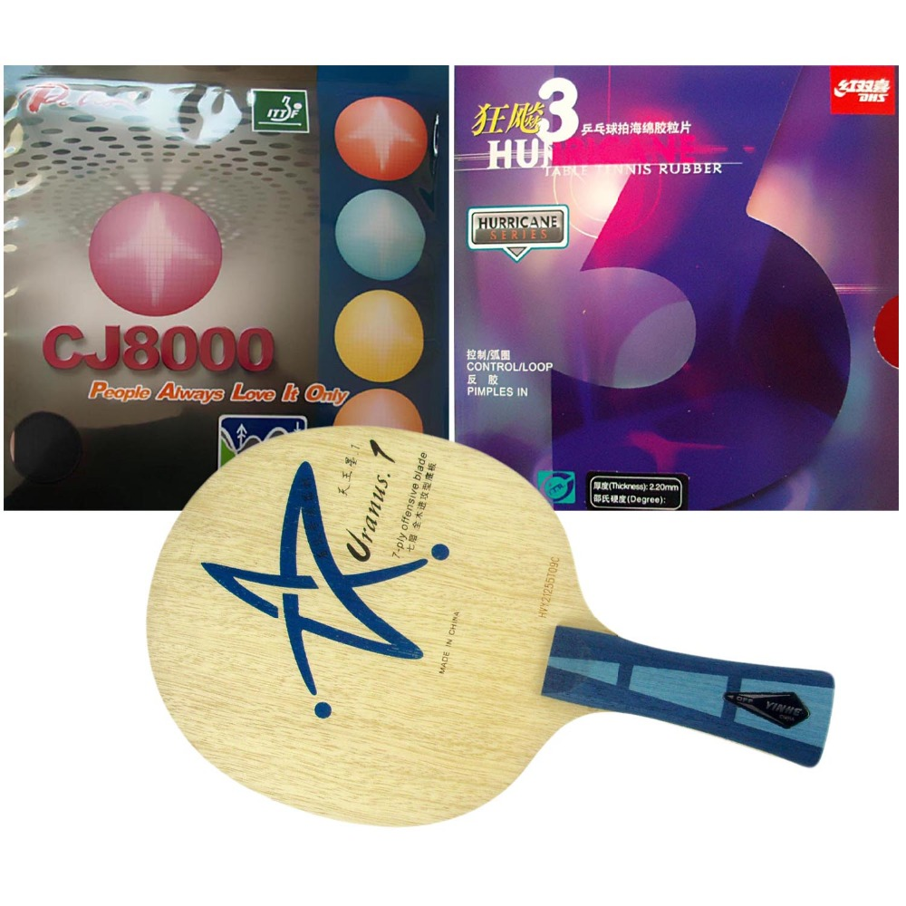 Pro Table Tennis Racket: Galaxy Yinhe Uranus.1 with DHS Hurricane 3 Palio CJ8000 (BIOTECH) 2-Side Loop Shakehand Long Handle FL original pro table tennis combo racket galaxy yinhe w 6 moon factory tuned and palio cj8000 biotech shakehand long handle fl