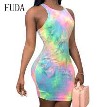 FUDA Bodycon Sexy Tie Dye Mini Dress Women Sleeveless Summer Fashion Skinny Dresses Streetwear Femame Elegant Retro Robe Longue tie dye sleeveless a line mini dress
