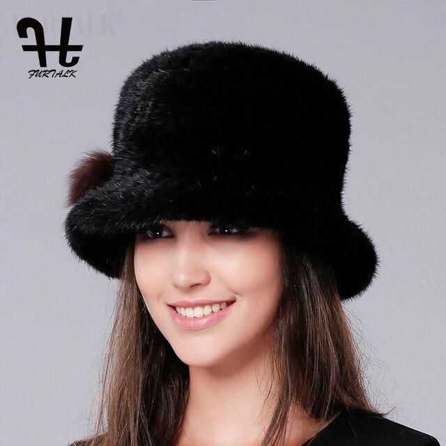 FURTALK Luxury Knitted mink fur hat Fedora Bucket hat winter fur hats for  women 4c2229a3ccfa