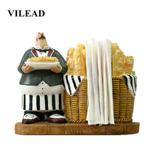 VILEAD 15cm Resin Bread Chef Paper Towel Holder Figurines Creative Hotel Tissue Box Home Storage Dining Table Decoration
