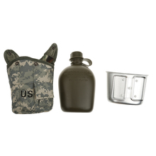 3 piece Army Military Camping Sport Water Bottle Pouch Water Bottle Canteen with Cup for Hiking Camping Outdoor Activities keith ti3060 titanium army military water bottle cup pot canteen mess kit set 268g 1 7l 0 7l w camo bag