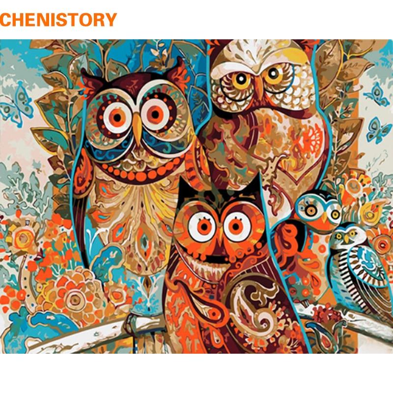 Chenistory sin marco vendimia búho DIY pintura por números pintura ...