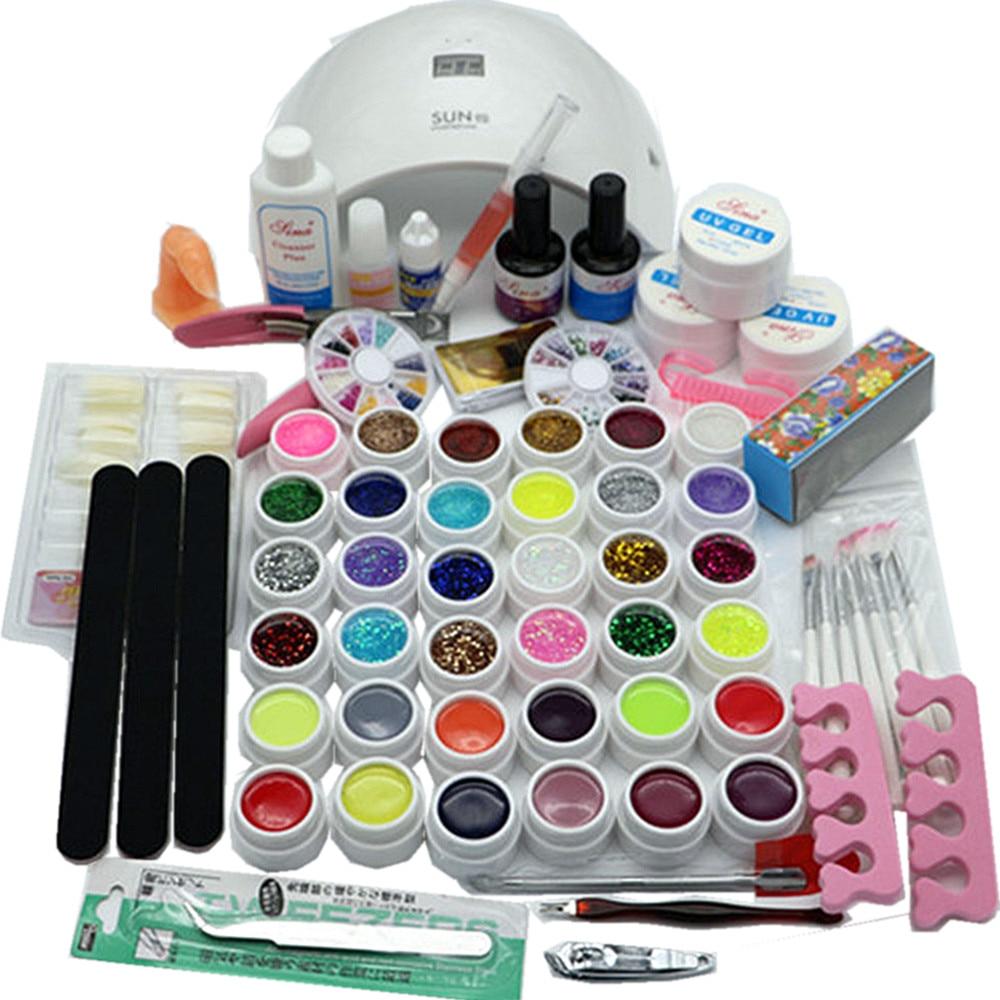 2017 New Pro 24W UV GEL White Lamp & 36 Color UV Gel Nail Art Tools Polish Set Kit Manicure Nail Extension Kit TP-111