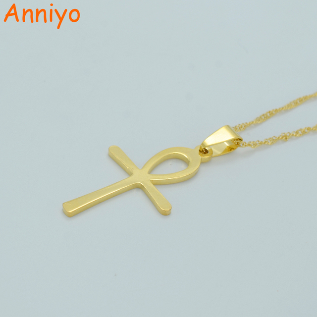 Anniyo Egyptian Ankh Necklace for Women Gold Color Cross Pendant