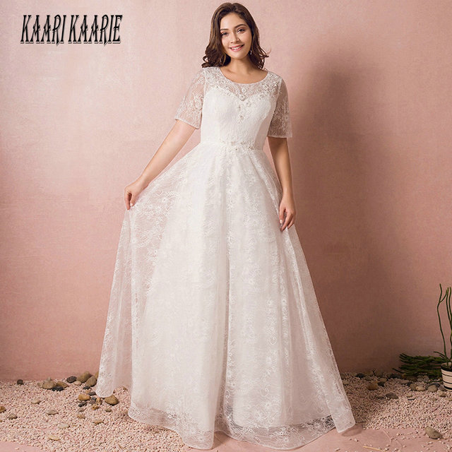 Fashion White Wedding Dresses 2018 Ivory Wedding Gowns Long Women Scoop  Appliques Beading Lace Up Floor Length Bride Dress Party 679046a2e825