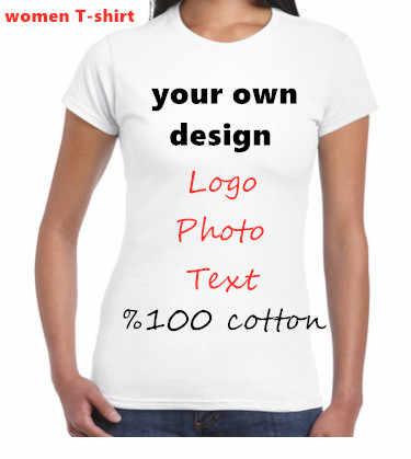 2019 Zomer Gemengde Kleur T-shirts Vrouwen Casual Korte Mouwen Tops Tees Ontwerp Eigen T-shirt Maken Custom Print Foto logo Voor