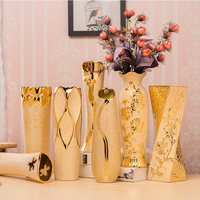 30cm Gold Ceramic Vase Desktop Office Decoration Vase Home Room Simple Chinese Style Flower Ornaments