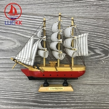 LUCKK 18CM Mediterranean Wooden Model Ships Nautical Home Interior Decoration Handmade Carved Sailing Boat Statues Wood Crafts
