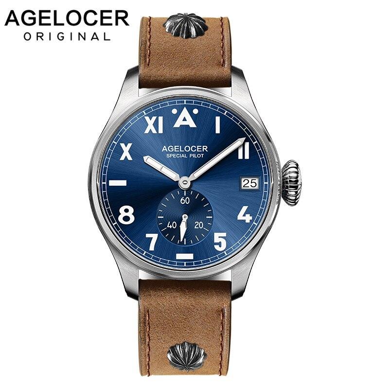 AGELCOER concepteur hommes robe montre automatique mécanique calendrier rôle montres mâle en cuir bleu noir cadran Simple montres-bracelets