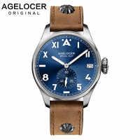AGELCOER Designer Mens Kleid Uhr Automatische Mechanische Kalender Rolle Uhren Männlichen Leder Blau Schwarz Dial Einfache Handgelenk Uhren