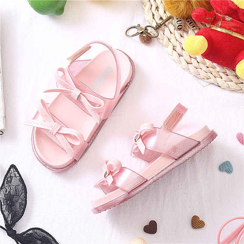 df8e59310b0805 Mini Melissa 3 Arco Cor do Laço Meninas Bonitos Sandálias Da Geléia 2019  Novo Melissa Sandálias Calçados Infantis Sapatos de Bebê Sapatos ...