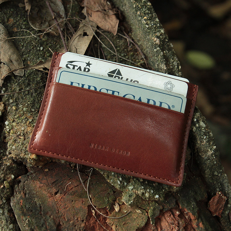 Hiram Beron Leather Card Holder Men Mini Wallet Vegetable Tanned Leather Free Custom Nam ...