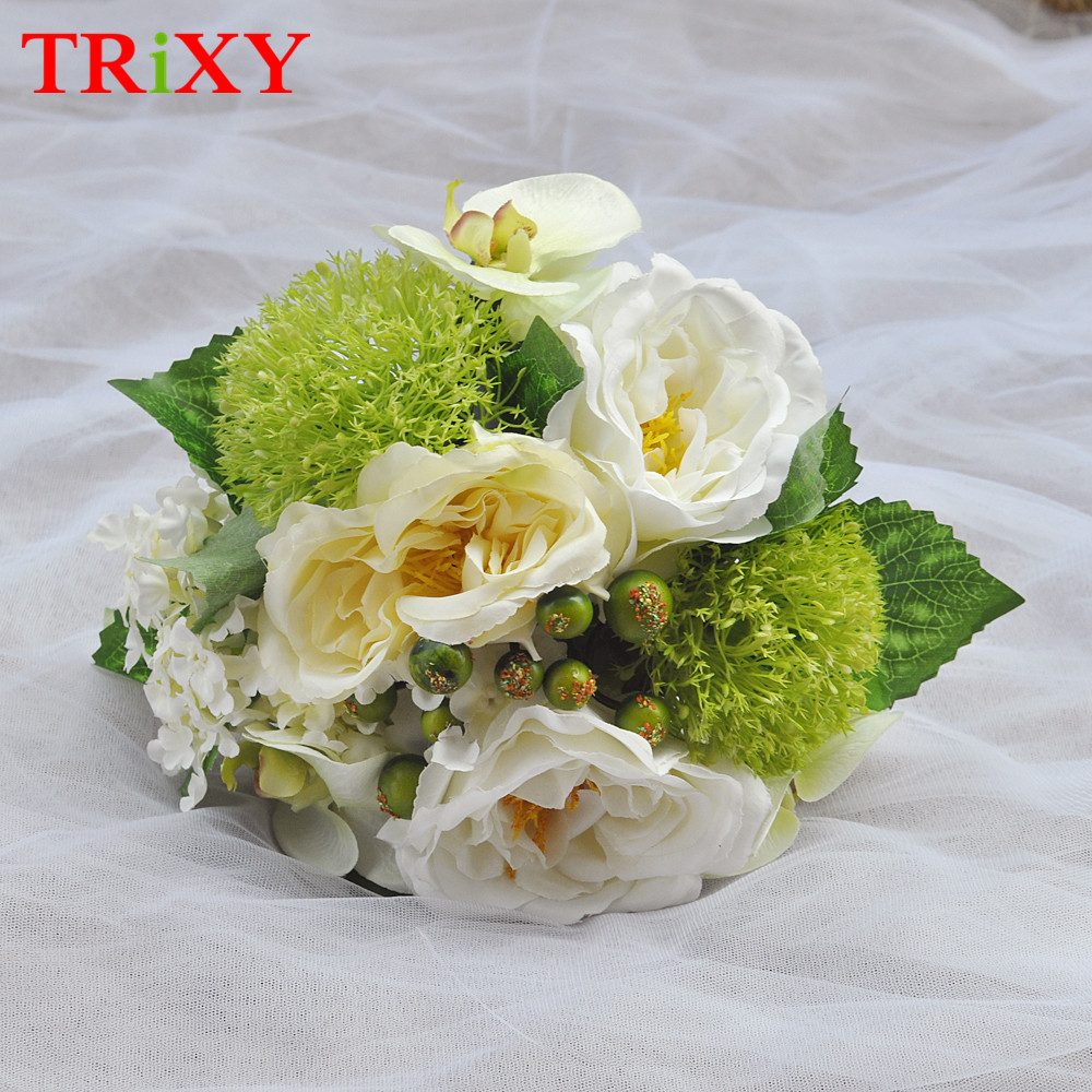 Weddings & Events Trixy B15 Free Shipping Charming Wedding Bouquet Bride Bridal Holding Flowers Pink Rose Artificial Flowers Bridal Bouquets Wedding Bouquets
