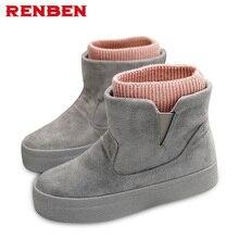 Зимние ботинки, Botas Mujer, новинка 2018 года, женские ботинки, Модные ботильоны из флока на высоком каблуке и платформе, весенне-Осенняя обувь на высоком каблуке