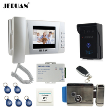 "JERUAN Home 4.3"" LCD Video Door Phone intercom System Kit 700TVL RFID Waterproof IR Night vision Camera Electric control lock"