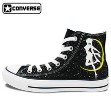 Sailor Moon Women Men's Converse Chuck Taylor Skateboarding Shoes Hand Painted Canvas Shoes Man Woman High Canvas Sneaker Gifts
